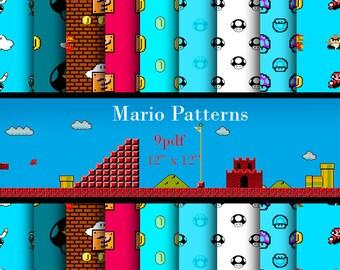 OFFER 90% Off SALE Mario Bros Digital Paper Pack
