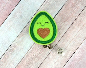 Avocado Badge Reel - Avocado - Feltie Badge Reel - Cute Badge Clip - Retractable ID Badge Holder - Badge Pull.