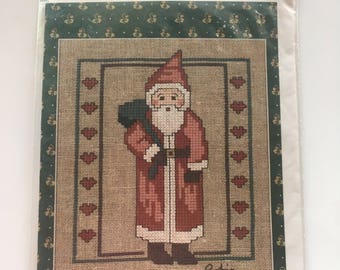 Folk Art Santa Counted Cross Stitch Pattern