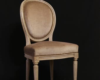 French Louis XVI Style Medallion Chair. Antique.