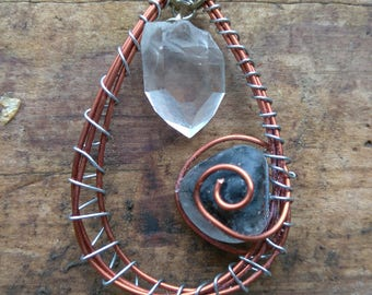 Large Wire-wrapped Pendant Necklace