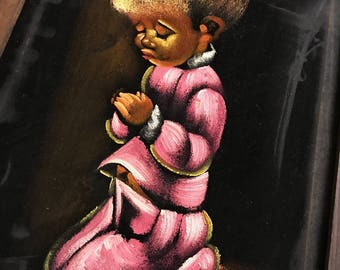 1960's Children in Pink Praying on Velvet