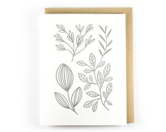Botanical No. 4 // Letterpress Folding Card // Botanical Print // Plant Lover // Blank Inside Stationery // Handmade Greeting Cards