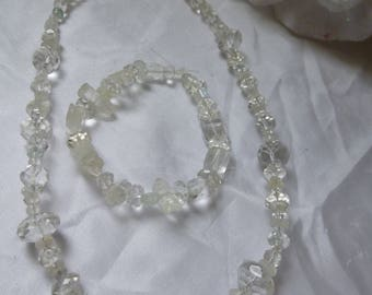handmade necklace and bracelet clear crystal and glass beads