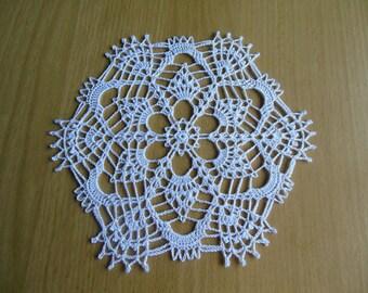 """Apricot"" round crochet doily"
