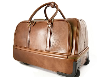 Leather Trolley Bag in with Laptop Sleeve