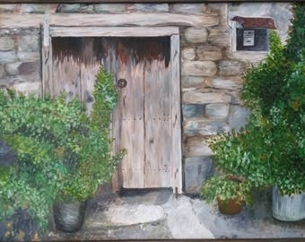 Acrylic Painting in canvas - Hand painted - Old door in Askas Village, Cyprus
