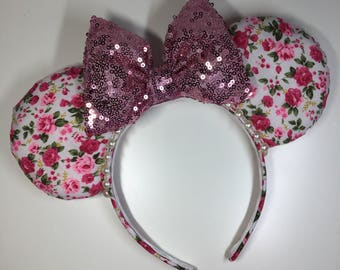Pink rose, sparkle, mouse ears
