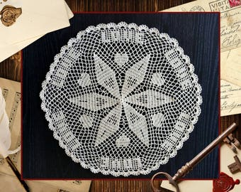 """Crocheted  Doily /Table Centerpiece """"Circle of Love"""" -  Elegant - Quality Handcrafted  - Makes a wonderful gift"""