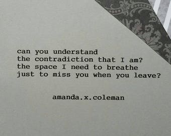 "Poetry Print | Amanda.x.Coleman | ""Contradiction"""