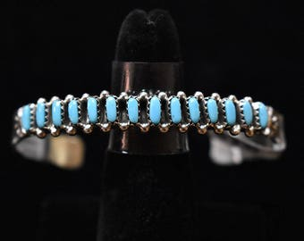 Sterling Silver Bracelet W/Blue Turquoise Needlepoint, Navajo SS New Mexico