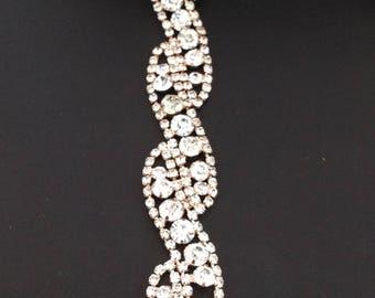 Rose gold rhinestone trim, crystal trim, wedding rhinestone trim, rhinestone chain, bridal trim, yard or wholesale