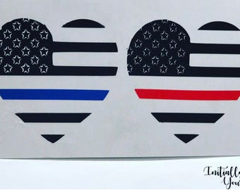 Police & Fire Heart Decal