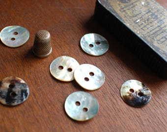 2 round mother of pearl buttons, natural shell round buttons 25mm or 1 inch in iridiscent white