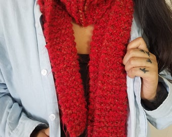 100% Vegan Red Hand-Knit Scarf