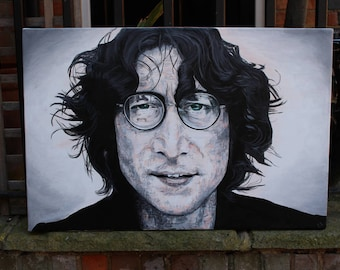 John Lennon, acrylic on canvas original, ready to hang, one off unique art, music gift