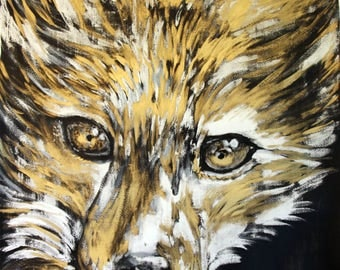 Red Fox, ink and gouache gold, original, animal, nature