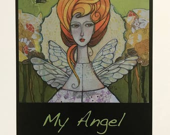 My Angel, fine art print exclusively produced for Jana's Redroom, original Artwork by Lynne Adrian