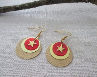 Earrings gold and Red sequins