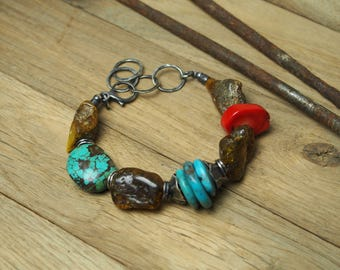 Beaded bracelet with raw amber, red coral and turquoise, 925 oxidized sterling silver, baltic amber, organic silver