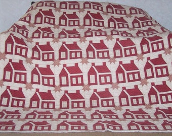 "Hand Sewn King Quilt (87""LX84""W) Red Schoolhouse"