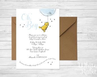 Winnie the Pooh - Boy Baby Shower / Christening Invitation with envelope