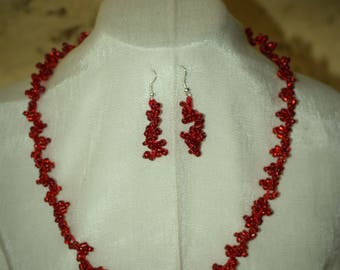 Set of earrings and necklace /Handmade, woven with translucent red glass seed beads named Chaquiron/ Modern style/ Special gift idea.