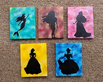 SOLD****Princess Silhouettes / Five Pieve Acrylic Painting / Canvas