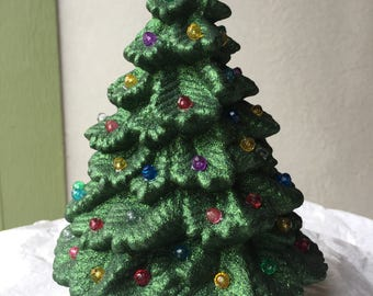 Christmas Small Sparkly Green Ceramic Tree with Multi-Colored Lights