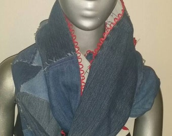 Sew Forgiven Up cycled patchwork reversible chiffon scarf with red half circle trim