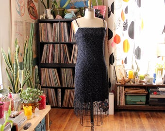 1990s does 20s flapper slip dress . silver & black fishnet bodycon mini dress with fringe hem . 90s evening dress, womens medium large