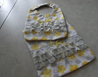 Yellow/Grey Bib and Burp cloth