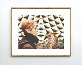 Ziggy stardust, David Bowie, art print, music print, music art, music poster, retro style art,