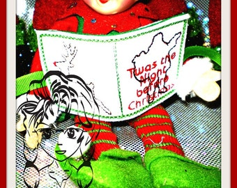 ELF SiZE NaUGHTY NiCE BooK Holiday Christmas ~ In the hoop - INSTaNT Download Machine Embroidery Design by Carrie
