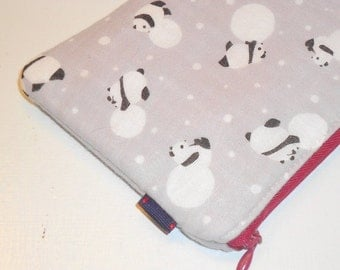 SALE SALE SALE - 20% Off Padded Zippy Pouch / Mod Panda Cosmetic Case / Kawaii Purse Organizer / Gray Electronics Cozy / Coin Purse - Other