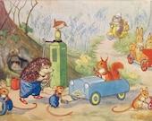 Vintage Postcard, Molly Brett, Medici Society, Woodland Garage, Dressed Animals, Paper Collectibles, Little Bunnies, Woodland Art, Hedgehogs