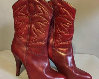WESTERN Vintage 1970's, LEATHER High Heel COWBOY Boots, with Golden Embroidery, Size 8, Made in Spain