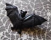 Detailed Bat Brooch Pin - Black Resin Handmade Hand Cast - Goth Horror Halloween - Novelty Brooch Pin