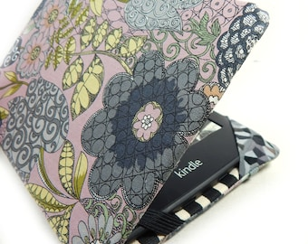 Kindle Paperwhite cover - Gloomy Blooms - mauve and grey floral kindle eReader case - kindle touch hardcover - cute quirky tech gift