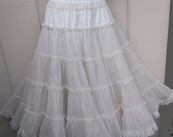 Vintage Pale Ivory off-white Tier RUFFLE Petticoat crinoline SLIP Tutu Skirt / Can Can - New Wave madonna // Ladies size Med - Lge - XL