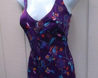 Vintage 70s Purple Floral Swimsuit - Bathing Suit  / Sz Med