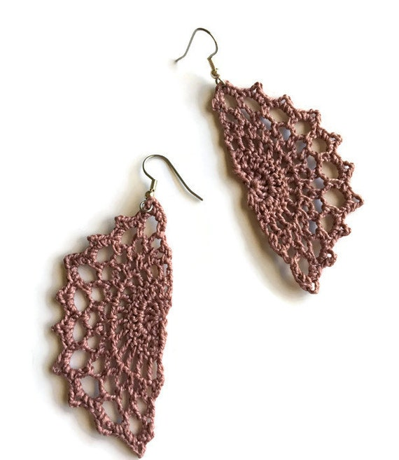 Boho Chic Crochet Statement Earrings Bohemian Gypsy Hippie Jewelry Gift for Her  /Vintage Lace Filigree -Handmade Lace in Ice Lily Pink