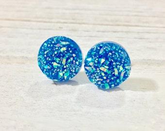 Blue Druzy Studs, Sparkling Blue Studs, Blue Stud Earrings, Blue Drusy Studs, Druzy Jewelry, Surgical Steel Studs, KreatedByKelly (SE9)