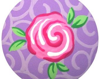 Purple Pink Rose Knobs Hand Painted Knobs Wood Decorative Knobs Dresser Knobs Cottage Roses Knobs Kids Drawer Pulls Knobs Girls Knobs