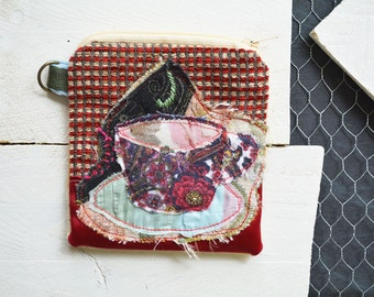 Tea Cup Small Zipper Bag. Zipper Pouch. Key Chain. Credit Card Change Wallet Holder. One of a kind Gift.