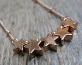 Star-Splitter necklace ... 14K rose gold fill / satellite chain / stars