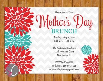 Mother's Day Brunch Invite Celebration Luncheon Invitation Red Teal Floral Burst 5x7 Digital JPG DIY Printable (234)