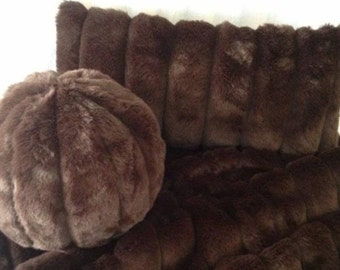 Faux fur Pillows, faux mink pillows, fur pillows,  faux mink pillows, faux fur mink pillows, faux mink ball pillows, pillows by Saari Design
