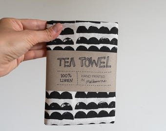 Linen Tea Towel - Mountains pattern in black ecofriendly ink, hand screen printed in Melbourne