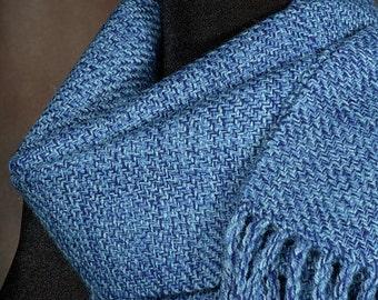 Blue scarf / Handwoven merino wool / winter scarf